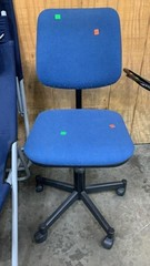 Rolling Blue Upholstered Office Chair