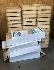 Apx 16 Pine Slatted Storage Boxes: 12 Assembled