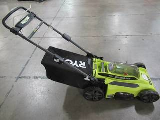 Ryobi 20 in. 40-Volt Brushless Lithium-Ion Cordless Battery Walk Behind Push Lawn Mower RY401110-Y