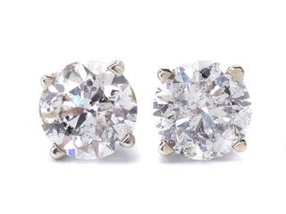 1.53 Diamond 14k White Gold Stud Earrings with La Pousette Backs; $4100