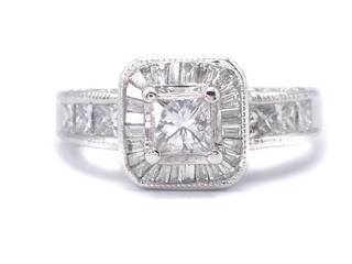 Gorgeous High Grade 1.45 Carat Diamond Estate Ring in 14k White Gold; $5800 Appraisal Included