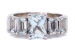 Fine Aquamarine Estate Ring in 14k White Gold; $3900