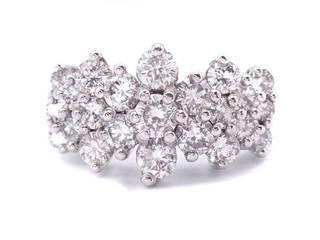 Glorious 3 Carat Diamond Cluster Estate Ring in 14k White Gold; $9900