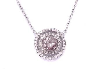 Very Rare Natural Untreated Pink Diamond and White Diamond Double Halo Estate Necklace $10,000