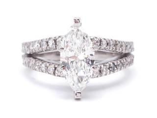 2.22 Carat Marquise Split Shank Estate Diamond Ring in 14k White Gold; $16,000