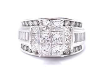 2.8 Carat Illusion Set Diamond Estate Ring in 14k White Gold; $7400 Appraisal Included