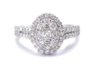 1.48 Carat Oval Illusion Halo Estate Ring in White Gold; $5700 Appraisal Included
