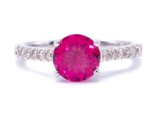 Brand New Brilliant Raspberry Tourmaline and Diamond Ring in 14k White Gold; $3699