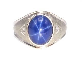Men's Star Sapphire and Diamond Estate Ring in 14k White Gold; $2750