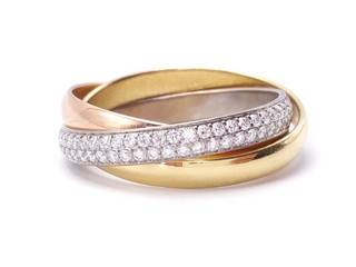 Cartier Diamond Trinity Diamond Ring; Tri-color 18k Gold; Box, Bag, Certificate; $12,000 Retail