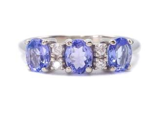 Gorgeous Tanzanite and Diamond Estate Ring in 14k White Gold - $2225