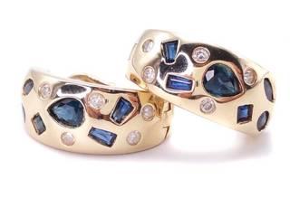 Custom Made Sapphire and Diamond Hoop Estate Earrings in Yellow Gold; $3250