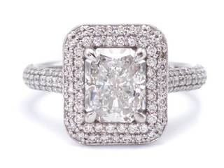2.84 Carat Radiant Cut Diamond Double Halo Ring in 14k White Gold; $17,250 Retail