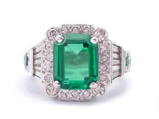 Green Tourmaline, Emerald, and Diamond Jeff Cooper / Naomi Designer Estate Ring in 14k White Gold; $10,000 Appraisal Included