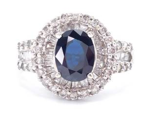 Natural Blue Sapphire and Diamond Estate Ring in 14k White Gold; $9200