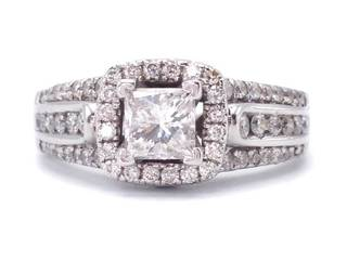 Beautiful 2.25 Carat Three Channel, Halo Diamond Estate Ring in 14k White Gold; $8400 Appraisal Included