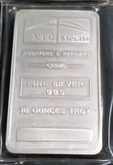 10 TROY OZ. .999 FINE SILVER BAR NTR METALS SEALED