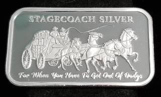 1 TROY OZ. .999 FINE SILVER BAR STAGECOACH CRACKER