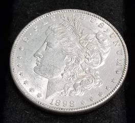 1898 MORGAN SILVER DOLLAR AU