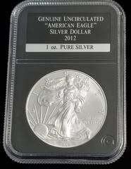 2012 AMERICAN SILVER EAGLE 1 TROY OZ. .999 FINE SILVER BLACK SLAB