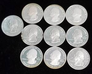 GROUP OF 10 US 90% SILVER STATE QUARTERS PROOF 'S' MINTS