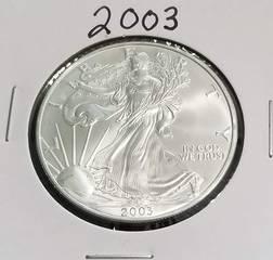 2003 AMERICAN SILVER EAGLE 1 TROY OZ. .999 FINE SILVER DOLLAR