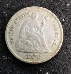 1873 US SEATED LIBERTY HALF DIME