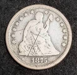 1875 US SEATED LIBERTY SILVER QUARTER OBV SCRATCHES