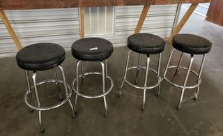 4 Chrome Bar Stools
