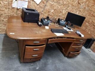 Large Wood Kidney Shaped Desk