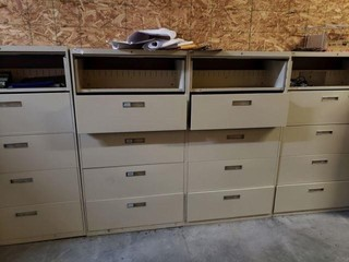 Four 5 Drawer Lateral File Cabinets