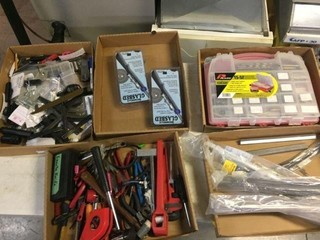Assorted Tools, Shim/Bar Stock, Drill Bits, Misc.