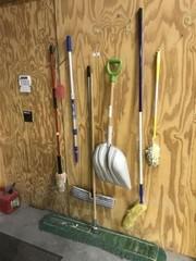 Brooms, Mop, Shovel & Gas Can