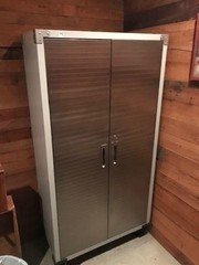 Metal Double Door Storage Cabinet on Casters