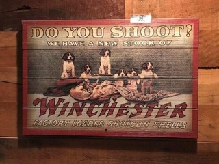 Wood Winchester Shotgun Shells Sign