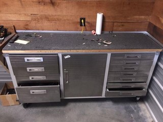 Metal Rolling Cabinet & Contents