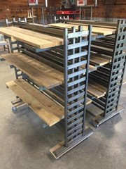 2 Steel & Wood Rolling Display Racks