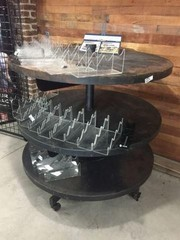Large Round Rolling Display Shelf