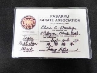 Elvis Presley s Pasaryu Karate Assoc Card