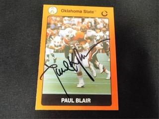 Paul Blair Signed Oklahoma State Football Card