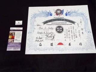 Elvis Presley Taekwondo 7th Degree Black Belt Cert
