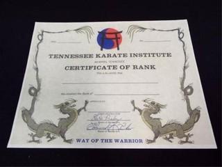 Tennessee Karate Institute Certificate of Rank  bl