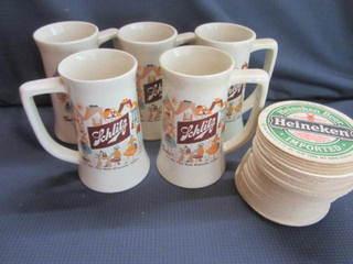 Schlitz Mugs, Heineken Coasters