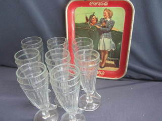 Soda Glasses, Coca Cola Tray