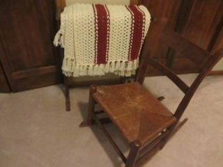 Antique Sewing Rocker & Quilt Stand