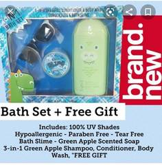 3-In-1 Bath Set- Shampoo, Conditioner and Body Wash with Sunglasses and Bath Slime
