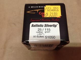 25 Cal 150 grain Ballistic Silvertip Bullets