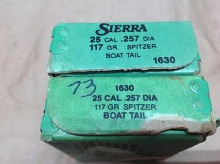 25 Cal 117 gr Boat Tail Bullets