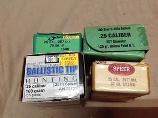 Assorted 25 Cal Bullets