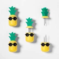 8pk Pineapple Corn Holders Yellow   Sun Squad